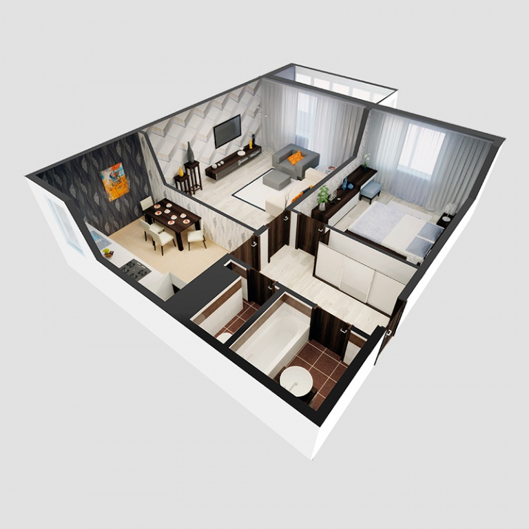 Планировка 2-комнатной